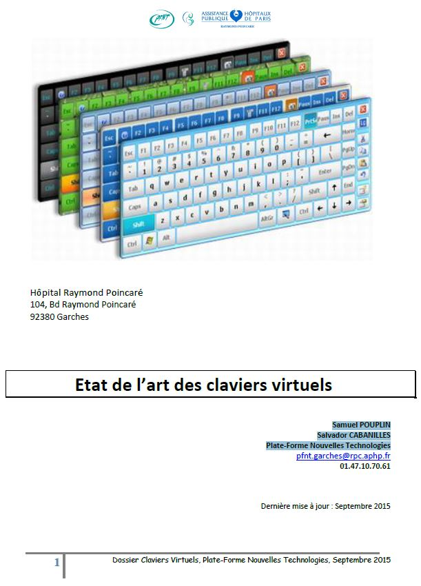 """image Dossier """"claviers virtuels"""" publié par La Plate-Forme Nouvelles Technologies de l'Hôpital Raymond Poincaré de Garches"""
