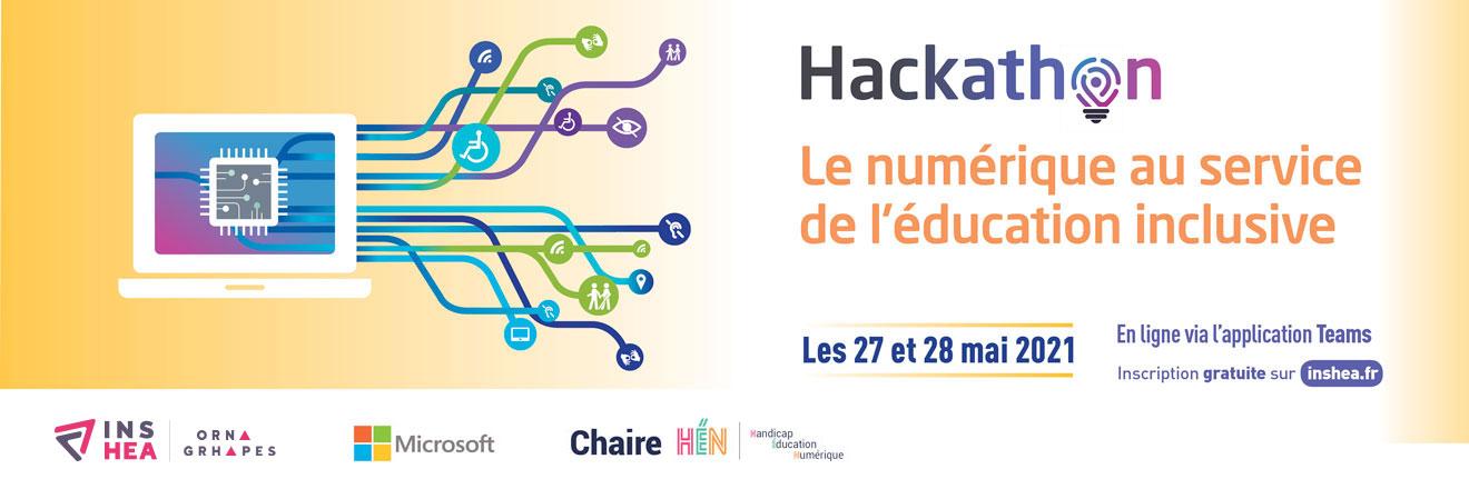 Visuel Hackathon. Le numérique au service de l'éducation inclusive.