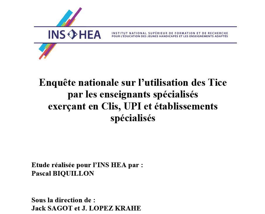 image Enquête nationale sur l'utilisation des Tice par les enseignants spécialisés exerçant en Clis, UPI et établissements spécialisés