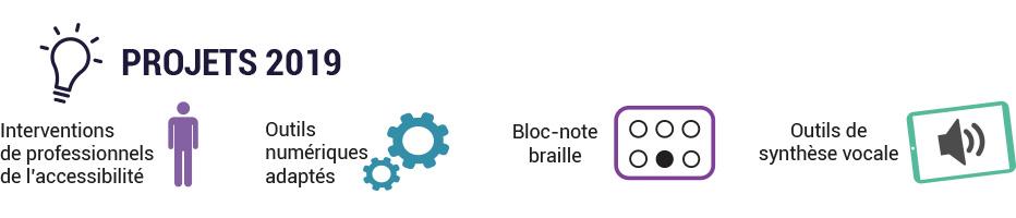 Projets 2019 : interventions de professionnels de l'accessibilité, outils numériques adaptés, bloc-note braille, outils de synthèse vocale.