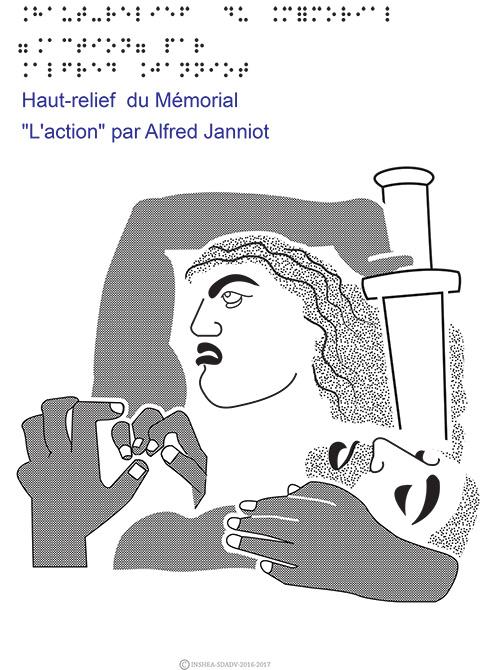 """Dessin en relief et braille : Haut relief du Mémorial """"l'action"""" par Alfred Janniot."""