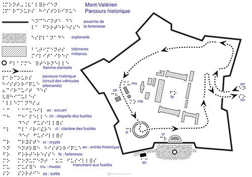 Dessin en relief du plan du Mont Valérien et transcription en braille et gros caractères