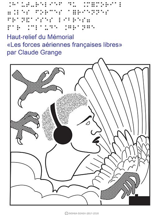 Deuxième dessin en relief et transcription en braille et gros caractères