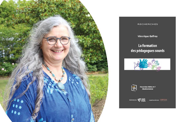 Photo de Véronique Geoffroy et aperçu de la couverture de son ouvrage sur la formation des pédagogues sourds.