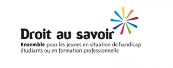 Logo. Droit au savoir. Ensemble pour les jeunes en situation de handicap, étudiants ou en formation professionnelle.
