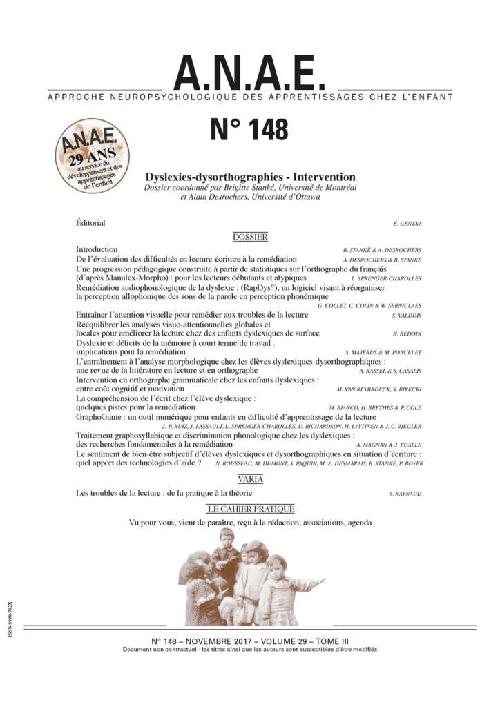 image ANAE 148 : Dyslexie Dysorthographie interventions