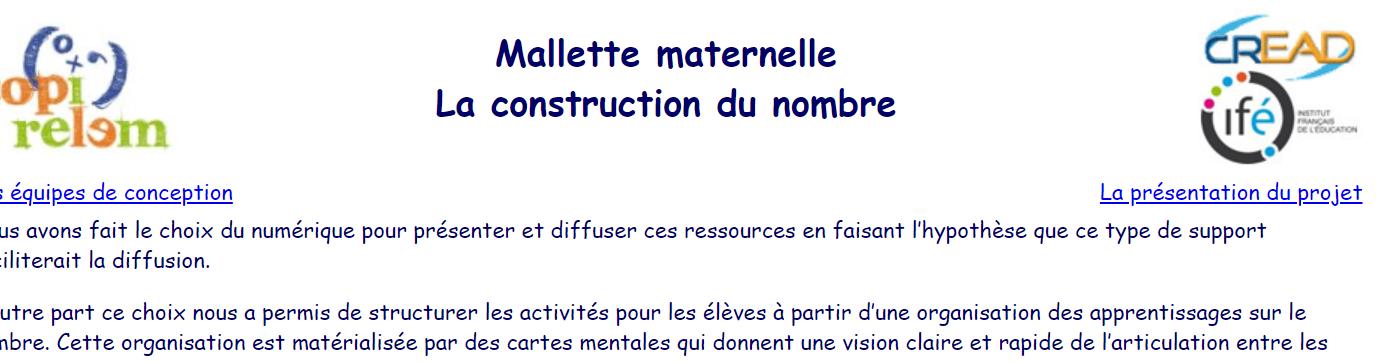image La construction du nombre en maternelle