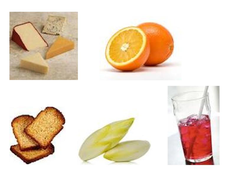 photos d'aliments : sucré, salé, acide et amer