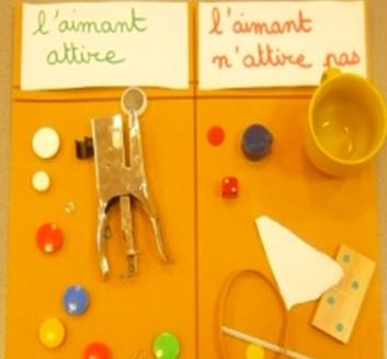 objets placés sur une affiche avec ceux que l'aimant attire et ceux que l'aimant n'attire pas