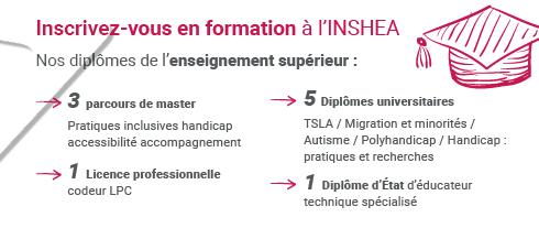 Inscrivez-vous en formation à l'INSHEA. Nos diplômes de l'enseignement supérieur : 3 parcours de master, 1 licence professionnelle, 5 diplômes universitaires et 1 diplôme d'état.