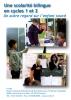 """Jaquette du film """"Une scolarité bilingue (LSF/français) en cycles 1 et 2. Un autre regard sur l'enfant sourd"""" illustrée par trois photos d'élèves sourds en classe."""