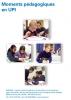 """Jaquette du film """"Moments pédagogiques en UPI"""" illustrée par quatre photos d'élèves en classe."""