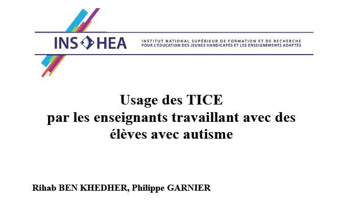 image Usage des TICE par les enseignants travaillant avec des élèves avec autisme