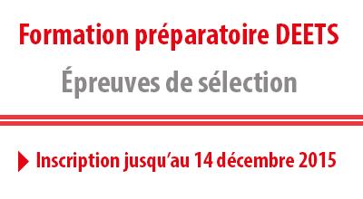 Image informative : Formation préparatoire DEETS, épreuves de sélection. Inscription jusqu'au 14 décembre.