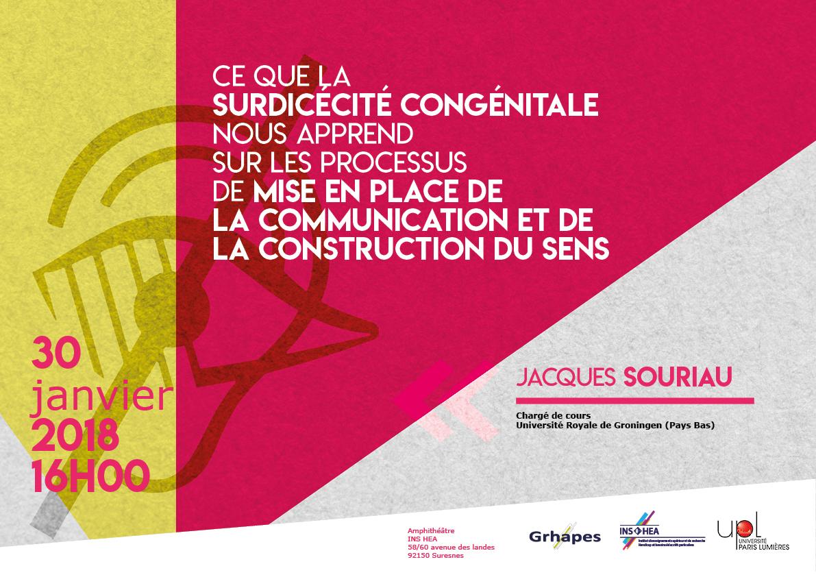 Affiche de la conférence de Jaques Souriau