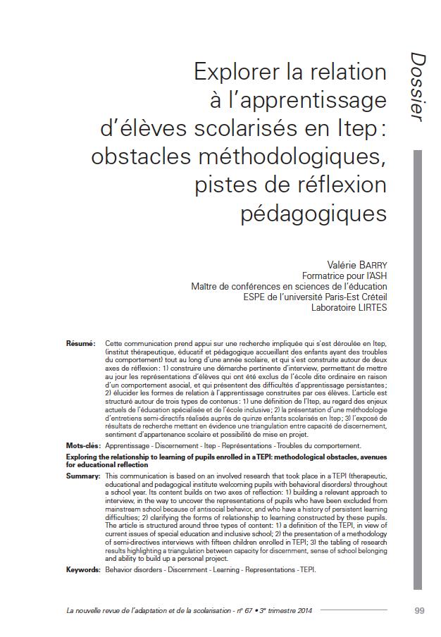 """Première page de l'article de Valérie Barry : """"Explorer la relation à l'apprentissage d'élèves scolarisés en Itep : obstacles méthodologiques, pistes de réflexion pédagogiques"""""""