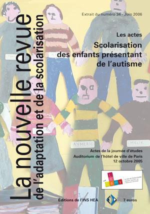 """Couverture de l'ouvrage """"Scolarisation des enfants présentant de l'autisme"""", illustrée par un dessins d'élèves avec plusieurs personnages."""
