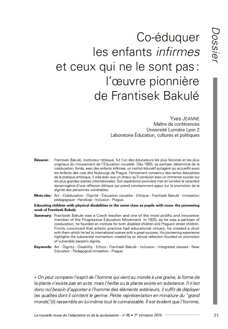 Couverture de la revue n°65 de La nouvelle revue de l'adaptation et de la scolarisation