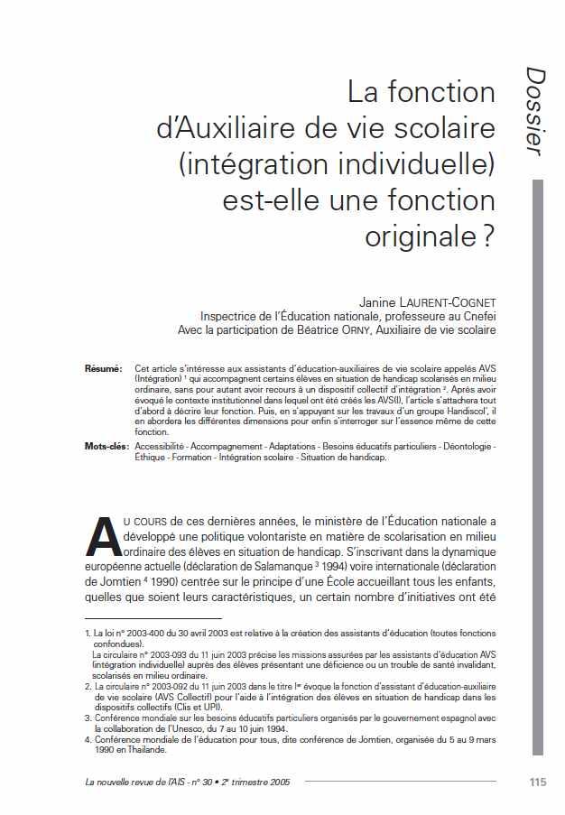 """Première page de l'article """"La fonction d'Auxiliaire de vie scolaire (intégration individuelle) est-elle une fonction originale ?"""""""