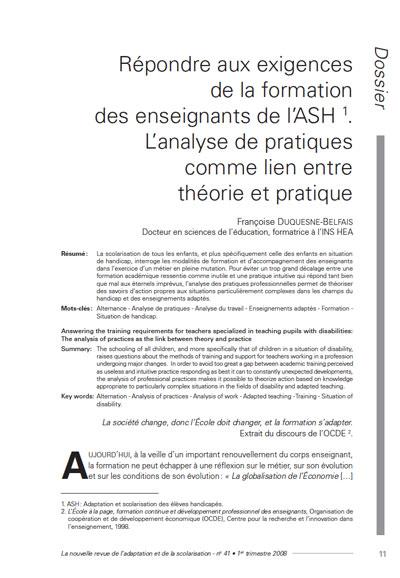"""Première page de l'article : """"Répondre aux exigences de la formation des enseignants de l'ASH. L'analyse de pratiques comme lien entre théorie et pratique"""""""
