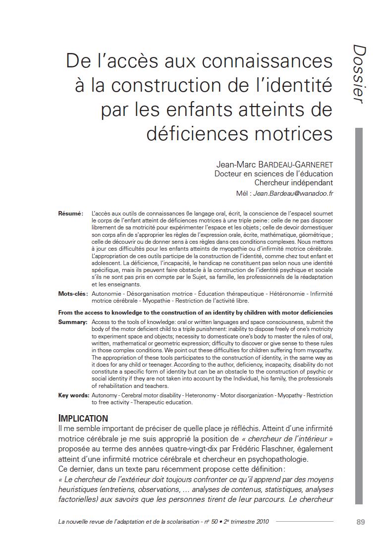 Première page de l'article De l'accès aux connaissances à la construction de l'identité par les enfants atteints de déficiences motrices », Jean-Marc Bardeau-Garneret