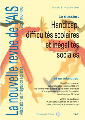 Couverture de La nouvelle revue de l'adaptation et de la scolarisation, n°31