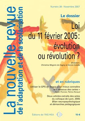 Couverture de La nouvelle revue de l'adaptation et de la scolarisation, n°39