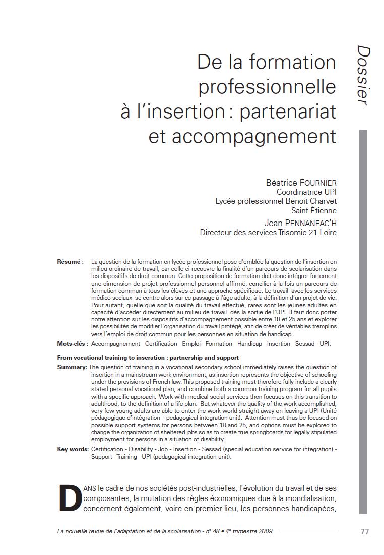 """Première page de l'article """"De la formation professionnelle à l'insertion : partenariat et accompagnement"""""""