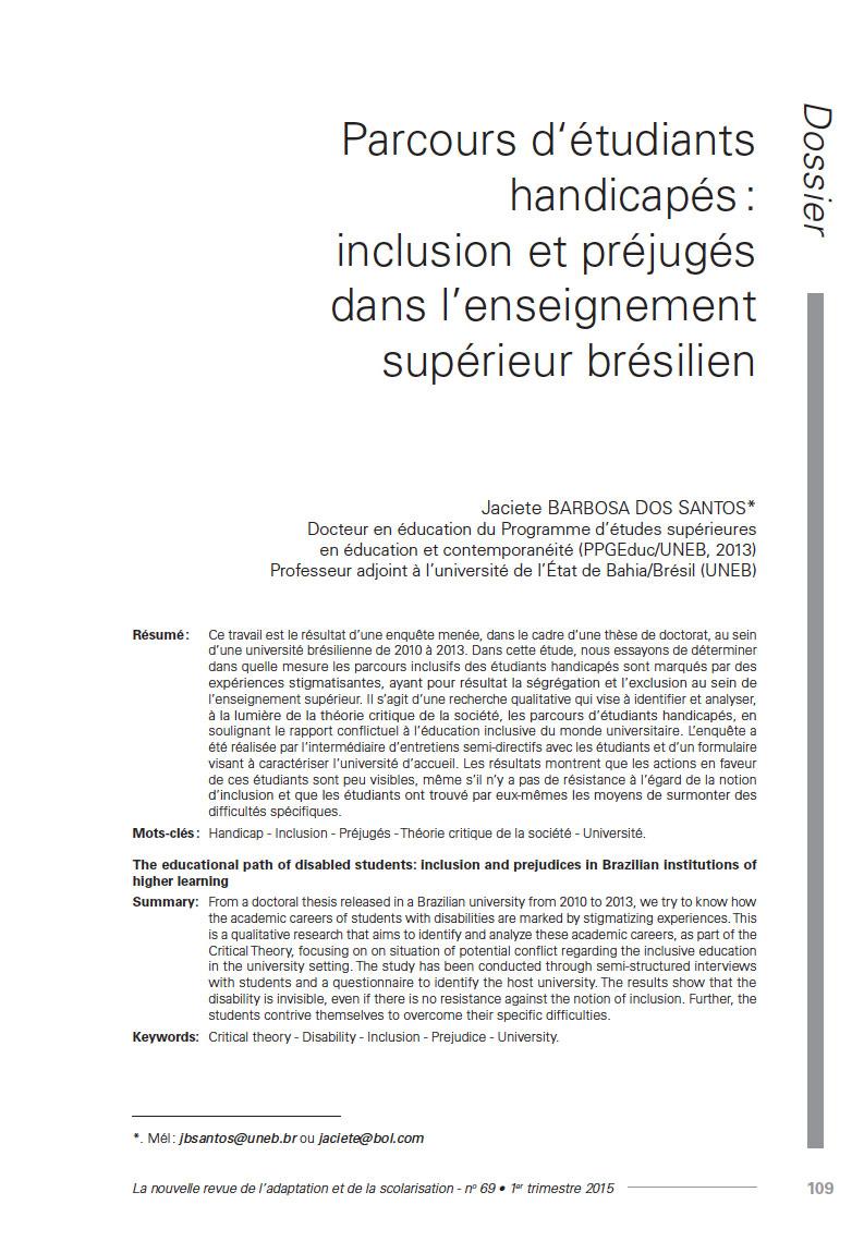 Première page de l'article «Parcours d'étudiants handicapés: inclusion et préjugés dans l'enseignement supérieur brésilien»