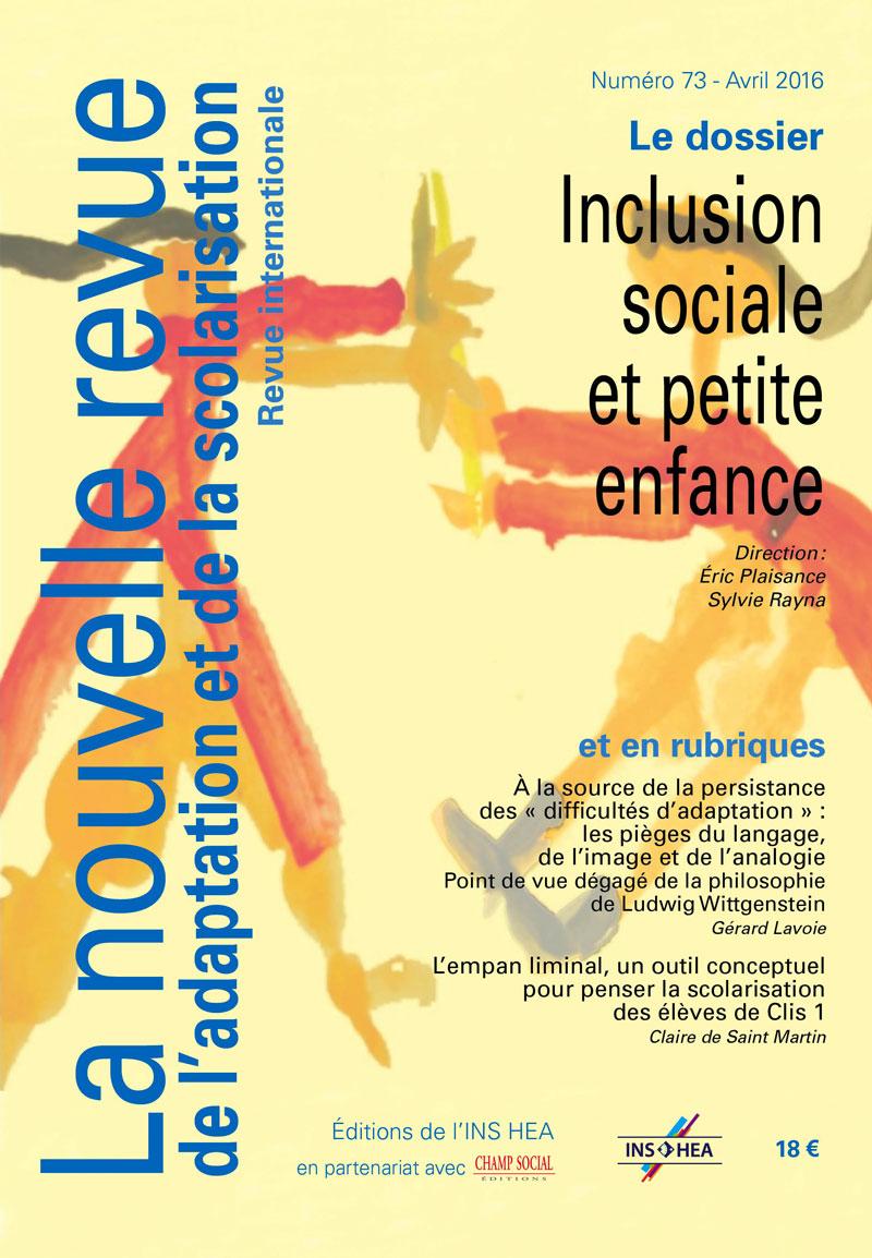 Couverture de La nouvelle revue de l'adaptation et de la scolarisation, n°73
