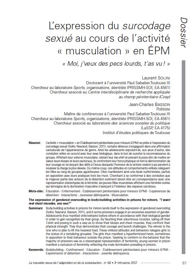 Première page de l'article de Laurent Solini, Jean-Charles Basson