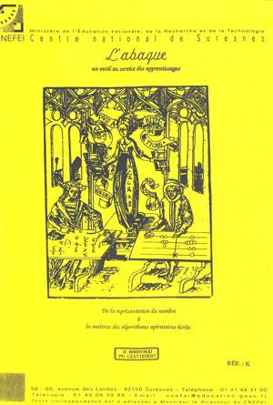 """Couverture de l'ouvrage """"Abaque. Un outil au service des apprentissages"""", illustrée d'une ancienne gravure montrant deux mathématiciens."""