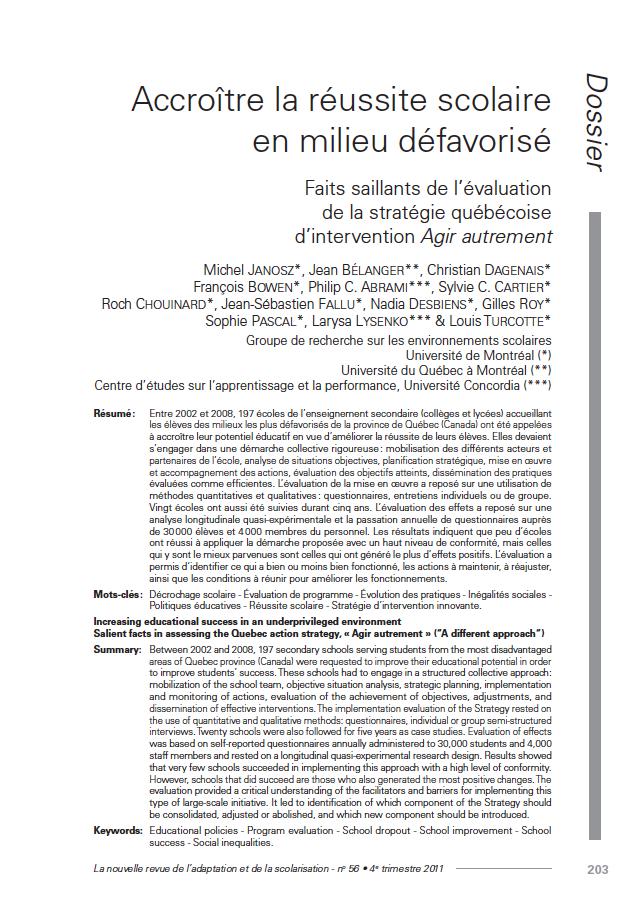 Première page de l'article du n°56 : Accroître la réussite scolaire en milieu défavorisé Faits saillants de l'évaluation de la stratégie québécoise d'intervention. Agir autrement