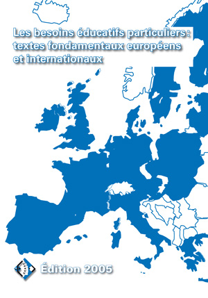 """Couverture de l'ouvrage """"Les besoins éducatifs particuliers : textes fondamentaux européens et internationaux"""" illustrée par une carte de l'Europe"""