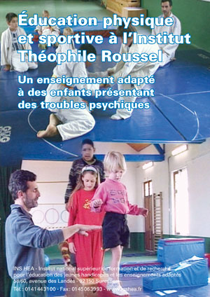 """Jaquette du film """"EPS à L'institut Théophile Roussel"""" illustrée par deux photos d'élèves et d'enseignants lors de séances de gymnastiques et de judo."""