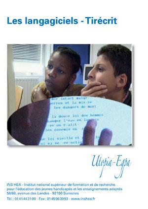 """Jaquette du film """"Langagiciels - Tirécrit"""" illustrée par une photo de deux collègiens devant un ordinateur"""