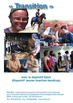 """Jaquette du film """"Transition Avec le dispositif Djinh"""" illustrée par plusieurs photos de jeunes adultes en situation de handicap"""
