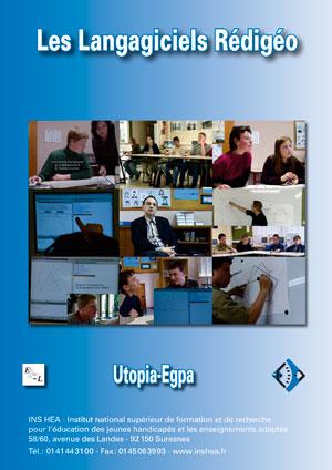 """Jaquette du film """"Les Langagiciels Rédigéo"""" illustrée par six photos d'élèves en situation d'apprentissage."""