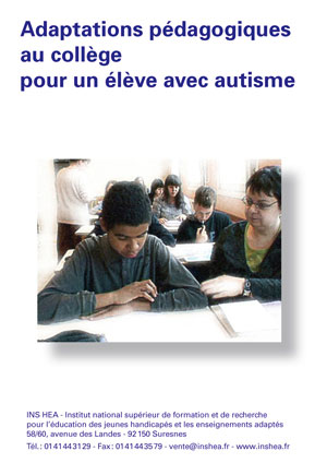"""Jaquette du film """"Adaptations pédagogiques au collège pour un élève avec autisme"""" illustrée par une photo d'un collègien et de son AVS."""