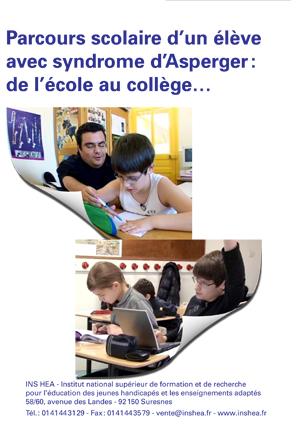 """Jaquette du film """"Parcours scolaire d'un élève avec syndrome d'Asperger : de l'école au collège…"""" illustrée par deux photos de collègiens en classe"""