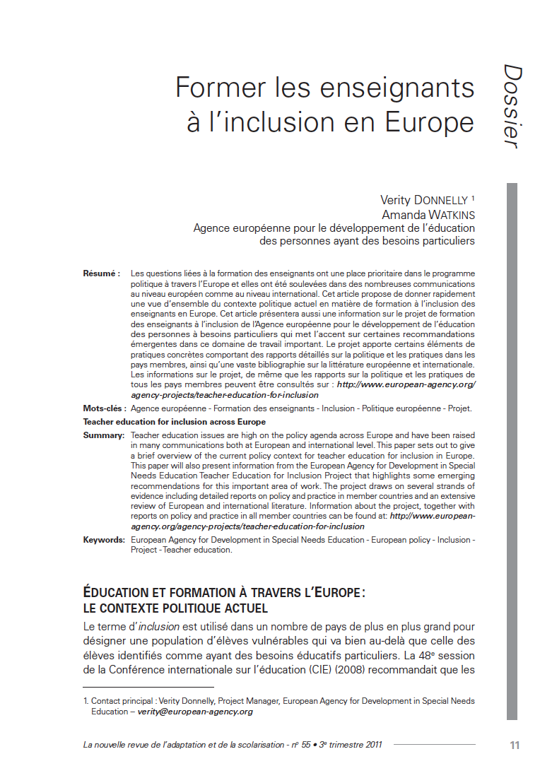 "Couverture de l'article de Verity Donnelly, Amanda Watkins : ""Former les enseignants à l'inclusion en Europe"""