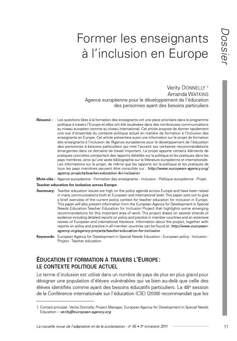 """Couverture de l'article de Verity Donnelly, Amanda Watkins : """"Former les enseignants à l'inclusion en Europe"""""""
